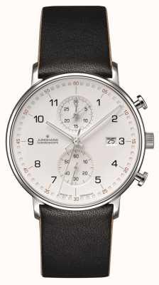 Junghans Forma c cronoscopio piel de becerro correa negra con numeros 041/4771.00
