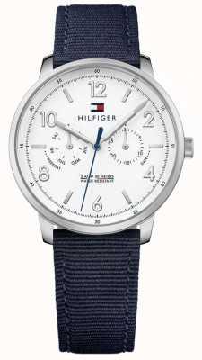 Tommy Hilfiger Hombres de color azul tela correa blanca esfera 1791358