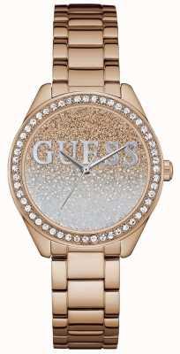 Guess Mujeres brillo chica rosa de oro de acero W0987L3