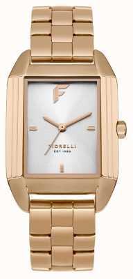Fiorelli Womans subió el dial de satén de la pulsera del oro FO034RGM