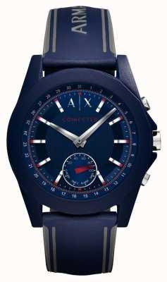 Armani Exchange Correa de silicona azul con reloj inteligente conectado AXT1002