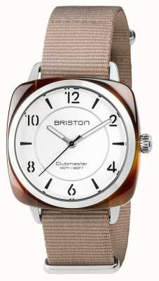 Briston Clubmaster unisex elegante acero de acetato beige con correa de nato 17536.SA.T.2.NT