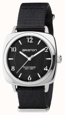 Briston Clubmaster unisex elegante acero negro con correa de nato 17536.S.L.1.NB