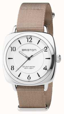 Briston Clubmaster unisex elegante de acero beige con correa de nato 17536.S.L.2.NT