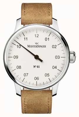 MeisterSinger Hombre no. 1 mano clásica herida vendita blanca AM3301