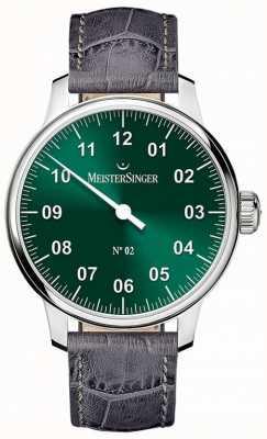 MeisterSinger Clásico para hombre no. 2 mano herida sunburst verde AM6609N