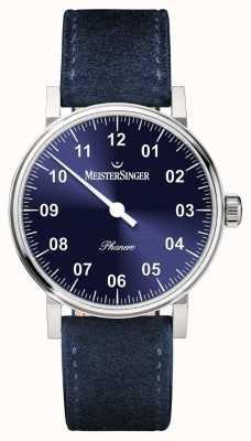 MeisterSinger Forma de hombre y estilo phanero handwound sunburst azul PH308