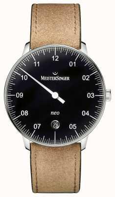 MeisterSinger Forma y estilo de los hombres negro neo automático NE902N