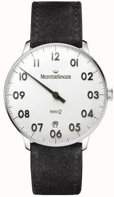 MeisterSinger Mens forma y estilo neo q acero inoxidable y ante negro NQ901N