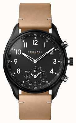 Kronaby 43mm ápice bluetooth negro pvd / cuero beige smartwatch A1000-0730