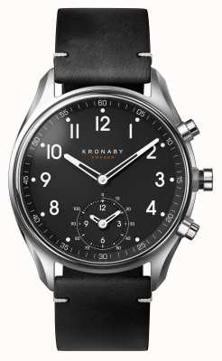 Kronaby 43mm ápice bluetooth correa de cuero negro correa de cuero A1000-1399