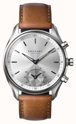 Kronaby 43mm sekel bluetooth cuero marrón oscuro smartwatch A1000-0714