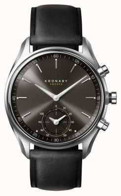 Kronaby 43mm Sekel bluetooth black dial / correa de cuero smartwatch A1000-0718