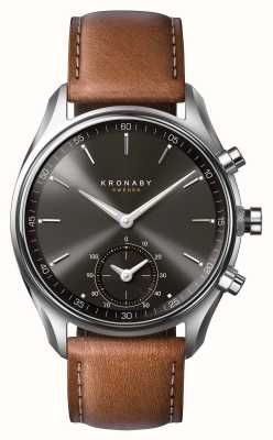 Kronaby 43mm sekel bluetooth cuero marrón esfera negra smartwatch A1000-0719