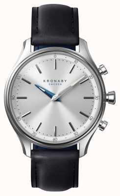 Kronaby Correa de cuero negro bluetooth sekel de 38 mm a1000-0657 S0657/1