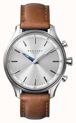 Kronaby Reloj de pulsera de cuero marrón acero inoxidable 38mm A1000-0658