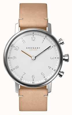 Kronaby Reloj de pulsera de cuero beige de 38 mm nord bluetooth A1000-0712