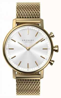Kronaby 38mm quilates bluetooth correa de malla de oro smartwatch A1000-0716
