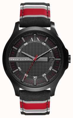 Armani Exchange Correa de la raya roja del negro del reloj del vestido del Mens AX2197