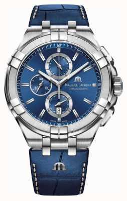 Maurice Lacroix Correa de cuero azul cronógrafo para hombre aikon azul AI1018-SS001-430-1
