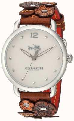 Coach Womans delancey reloj correa de piel de flor marrón 14502744