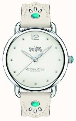 Coach Womans delancey reloj correa de cuero blanco piedras turquesas 14502702