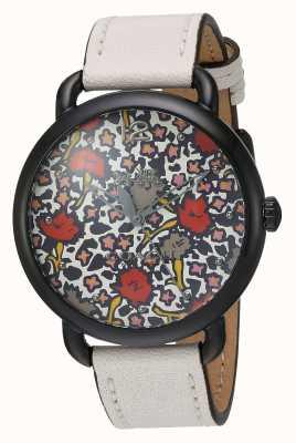 Coach Womans delancy reloj correa de cuero blanco patrón marcado 14502729
