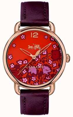 Coach Womans delancey reloj esfera con estampado de borla de cuero burdeos 14502730