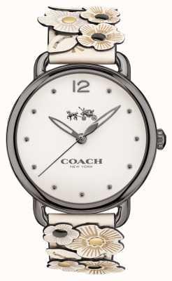 Coach Womans delancey mira correa de cuero de flor blanca 14502746