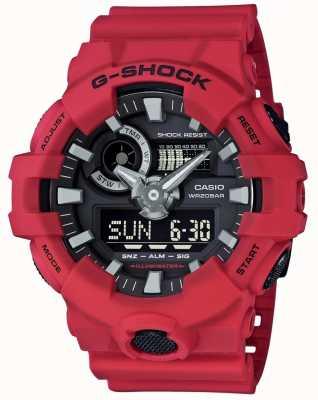 Casio Mens g-shock rojo alarma cronógrafo GA-700-4AER