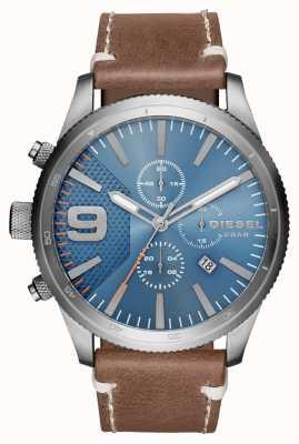 Diesel Gents rasp chrono reloj de cuero marrón DZ4443