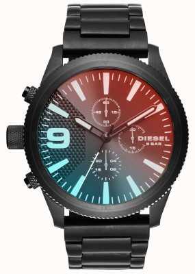 Diesel Gents rasp chrono rojo / azul negro ión plateado reloj DZ4447