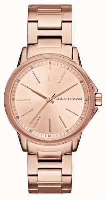 Armani Exchange Los bancos de la señora aumentaron el reloj plateado del ion del oro AX4347