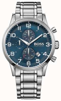 Hugo Boss Mens aeroliner cronógrafo acero inoxidable esfera azul 1513183