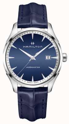 Hamilton Cuero azul cuarzo jazzmaster para hombre H32451641