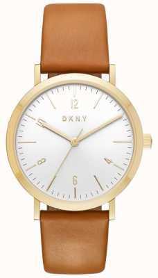 DKNY Reloj de cuero de oro de la correa de cuero del tan del minetta de las mujeres NY2613