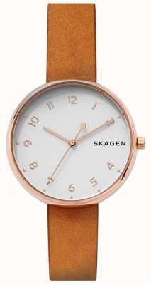 Skagen Womans signatur tan correa de cuero rosa de oro SKW2624