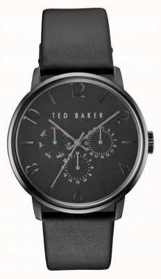 Ted Baker Mens james todo el reloj de cuero negro del cronógrafo TE10030763