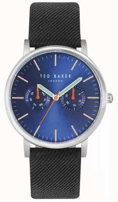 Ted Baker Mens brit 40mm cinturón azul negro tela TE10031496