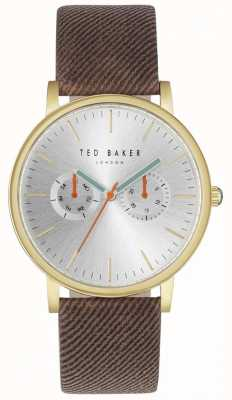 Ted Baker Mens brit 40mm cinturón de plata marrón tela correa TE10031497
