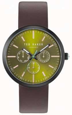 Ted Baker Mens cronógrafo cronómetro verde marrón correa de cuero TE10031502