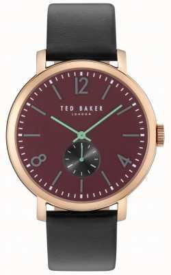 Ted Baker Mens oliver 42mm negro correa rosa caja de oro TE10031516