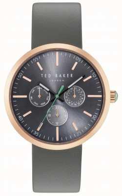 Ted Baker Mens crono gris cronógrafo dial gris correa de cuero TE10031503