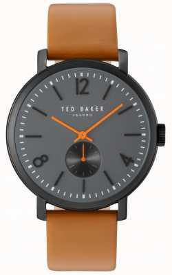 Ted Baker Mens oliver 42mm marrón cinta negro caso TE10031514