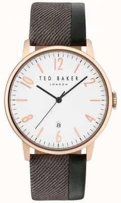 Ted Baker Mens daniel dos tonos correa de cuero esfera blanca TE10031572