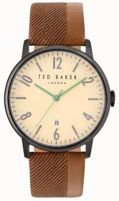 Ted Baker Mens daniel dos tonos cuero correa crema dial TE10031573