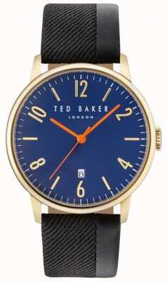 Ted Baker Mens daniel dos tonos correa de cuero esfera azul TE10031571