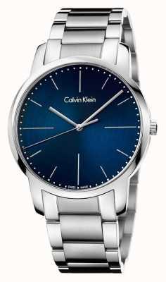 Calvin Klein Hombres de la ciudad de acero inoxidable pulsera azul dial K2G2G1ZN
