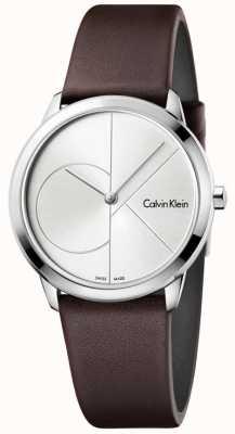 Calvin Klein Womans correa de cuero marrón minimalista esfera de plata K3M221G6
