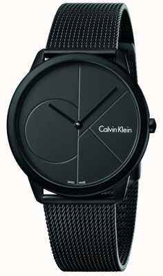 Calvin Klein Pulsera de malla negra mínima de acero inoxidable para hombre K3M514B1